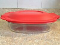 NEW! Pyrex 702 Clear Glass Oval Casserole dish 2.5qt W/ Red 702-PC Sealing lid