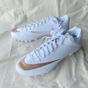Nike Vapor Lacrosse Molded Cleats Mens sz 5 White Rose Gold 856507-101 (R)