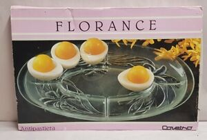 Covetro Florance Antipasta Oval Glass Divided Platter Made in Italy MIB c1988-92