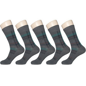 "5 Pairs Lot Mens Gray Check Dress Socks ""Skin contact surface is 100% cotton"""
