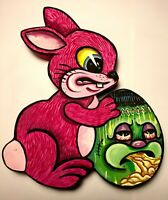 Art: Awesome Cartoon Pink Easter Bunny with Puking Frankenstein Egg art