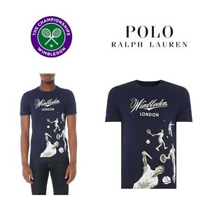 Polo RALPH LAUREN Wimbledon London T-Shirt Men's Navy Blue LARGE Tennis