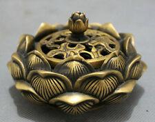 Tibet Bronze Folk Buddhist Auspicious Lotus Statue Flower Incense Burner Censer