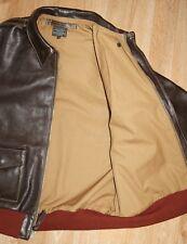 Aero A-2 Military Flight Jacket 46 Dark Seal Italian Horsehide Leather Jacket