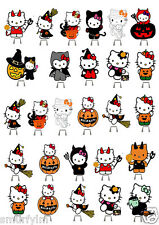 Hello Kitty Halloween Party Stand up Cake Toppers Edible Wafer Card x 27 imageV