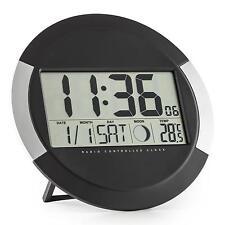 Funk-Wanduhr Zeit Kalender Temperatur Stand- oder Wandmontage Funkuhr schwarz
