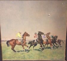Antique Horse Racing Painting Listed Signed Eduard Thony 1866-1950 Germany AS-IS