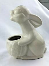 Vintage Mccoy? White Easter Bunny Rabbit With Cabbage Planter