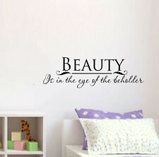 """Beauty is in the eye of the beholder, Vinyl Wall Lettering Words Decal Quote 24"""""""