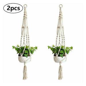 UK Macrame Plant Hanger Flower Pot Holder Hanging Jute Rope Wall Art Garden 2PCS