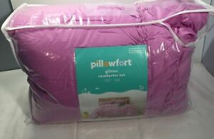 Pillowfort Glitter Ruched 3 Piece FULL QUEEN Comforter Set (New with defects)