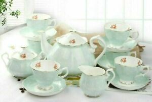 LeBlue Polka Dot British Style Fine Bone China Tea Set ~15 pieces ~ Green