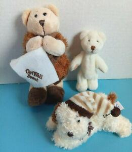 Plush Stuffed Animal Lot 3 - Get Well Teddy & Florida by Ganz, Puppy Pip the Dog
