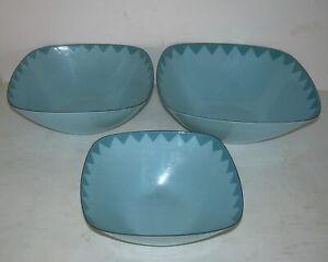 3 Vintage Blue Cathrineholm Square Nesting Bowls Danish Modern Enamel Ware Unmkd