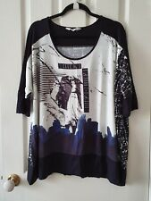 TS Virtuelle Black and White Print Tunic Top Size XS