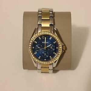 Fossil ES4734 Riley Multifunction Two-Tone Stainless Steel Blue Dial Watch $125
