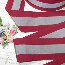 "1y Vtg French 2 1/4"" Gray Maroon Grosgrain Ribbon Cocarde Millinery Flower Trim"