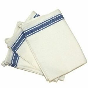 Aunt Martha's Retro Vintage Style Stripe Blue Kitchen Dish Tea Towels Set of 3