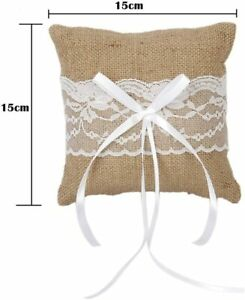 Bridal Wedding Ceremony Pocket Ring Bearer Pillow Cushion with Satin Rib 15x15cm