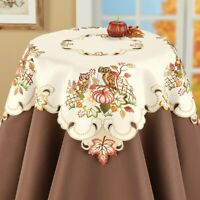 Embroidered Harvest Owls & Pumpkins Thanksgiving Polyester Square Tablecloth