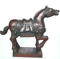 "Vintage Horse Hand Carved Wooden Figurine Statue 12"" x 10"""