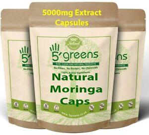 Natural Moringa Capsules 5000mg Per Capsule - STRONG EFFECTIVE EXTRACT POWDER