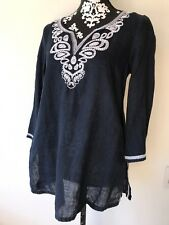 SAKS FIFTH AVENUE Blue Linen Tunic Top Sz S Embroidered 3/4 Sleeve Beautiful