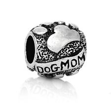 Antique Silver Tone Dog Mom Spacer Charm Bead  For European Charm Bracelets