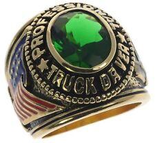 TRUCKER USA Men's Simulated Emerald 18K Gold overlay size 9