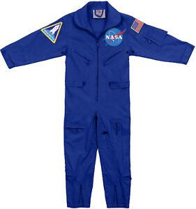 Kids Blue NASA Space Camp Flight Suit, Aviator Coveralls Air Force Jumpsuit