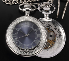 Mens Boys Pocket Fob Watch Mechanical Wind Up Silver  Skeleton Half Hunter
