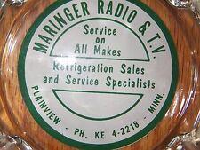 Vintage  Glass Ashtray  MARINGER RADIO & T.V. Phone KE 4-2218 PLAINVIEW MN MINN