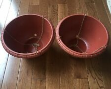 "x2, 12"" Hanging Plastic Planters Terra Cotta Brown Lg Pot Baskets, Hook & Chain"