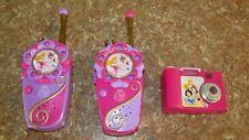 Lot 2 Vintage Disney Princess Walkie Talkie Two-Way Radio Phone Toy Set & Camera