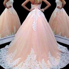 Ball Gown Blush Pink Wedding Dress Applique Sequins Bridal Gowns Custom Style