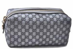 Auth GUCCI Guccissima Micro GG Leather Cosmetic Pouch 153228 Silver Gray D8577