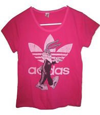 Bugs Bunny Wearing Track Suit Disney Pink Adidas Trefoil T Shirt Top Womens Jr S