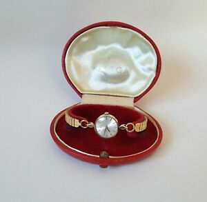 Ladies Vintage 1965 .375 9ct Gold Manual Winding Omega Wrist Watch & Box