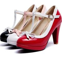 Ladies Mary Jane Lolita Shoes T-strap Bow Knot Buckle High Heels Cosplay Shoes