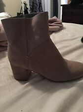 Women's Solid Camel Suede Nine West Ankle Boot : New 7