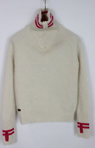 DEVOLD Women's LARGE 100% Wool Knitted Half Zip Thumb Holes Sweater 32897_GS
