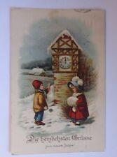 """""""Neujahr, Kinder, Mode, Muff, Uhr"""" 1917, Prägekarte ♥ (54467)"""