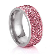 Fashion Stainless Steel Crystal Silver Wedding Pave Band Ring Jewelry Size 7-12