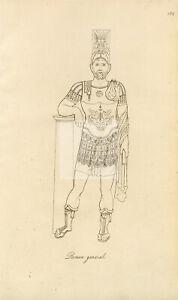 ANTIQUE Ancient Costume Print - Roman General in Armor #F65