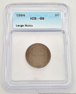 1864 Philadelphia Large Motto 2c Two Cents Copper ICG Graded G6 Coin US American