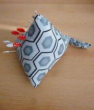 LARGE Pincushion Pin Cushion Pyramid Design Fabric Sewing Aid Pins Grey Black