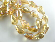 10pcs Yellow AB Glass Crystal Faceted Teardrop Beads 10x15mm Spacer Findings