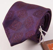 NWT $135 FUMAGALLI 1891 MILANO Plum Purple Medallion Silk Tie Handmade in Italy