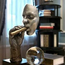 Retro Meditators Abstract Sculpture Man Smoking Cigar Creative Face Statue