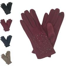 Ladies Women Soft Sheepskin Suede Fabric Gloves with lining Driving Winter